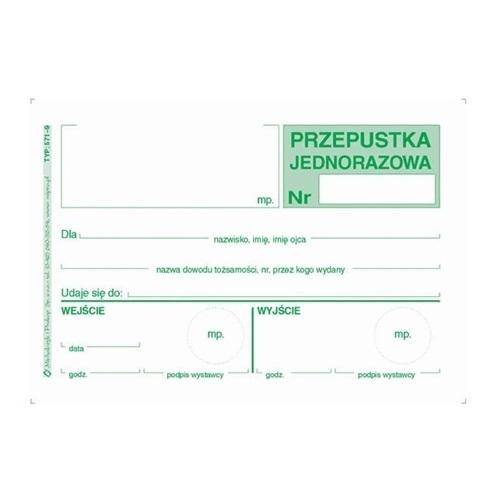 PRZEPUSTKA JEDNORAZOWA 571-9