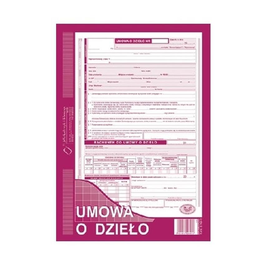 UMOWA O DZIEŁO - Z RACHUNKIEM 510-1