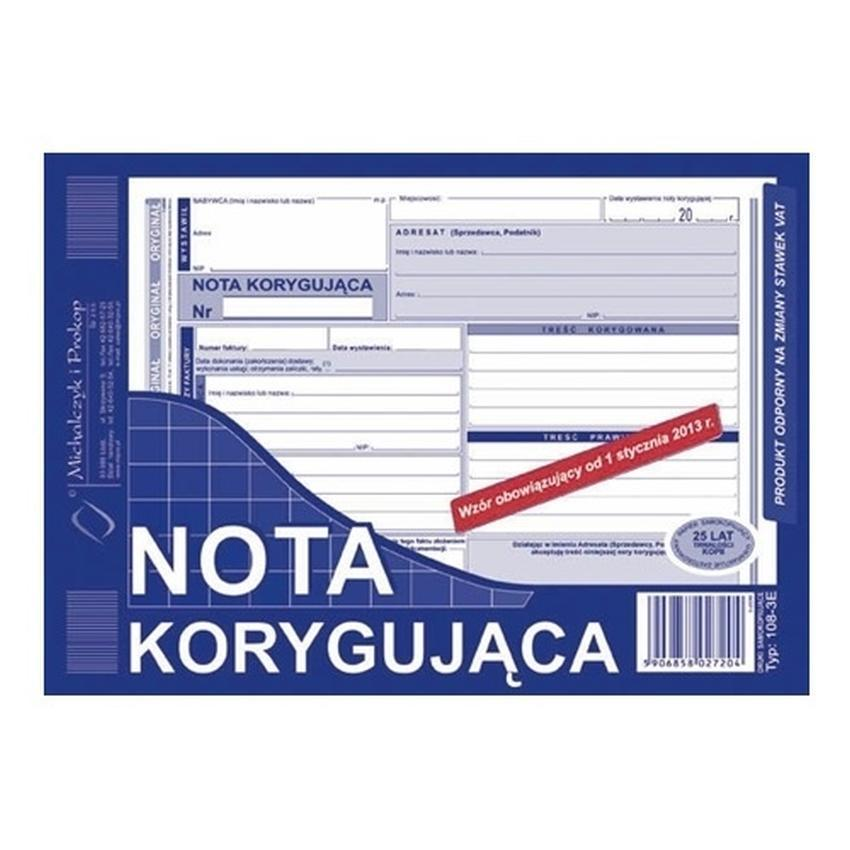 NOTA KORYGUJĄCA 108-3E
