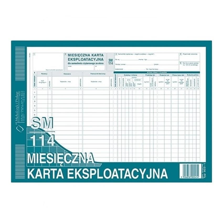 MIESIĘCZNA KARTA EKSPLOATACYJNA 803-1