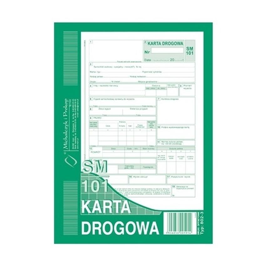 KARTA DROGOWA SM/101 (SAMOCHÓD OSOBOWY) 802-3
