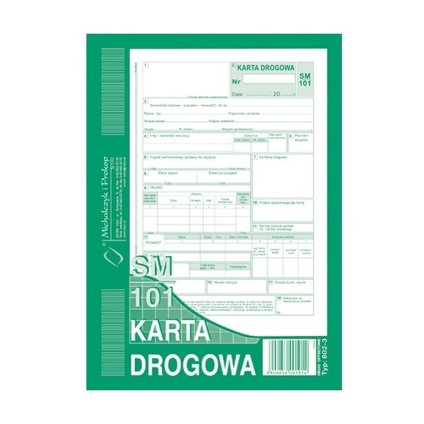 KARTA DROGOWA SM/101 NUMEROWANA (SAMOCHÓD OSOBOWY) 802-3N