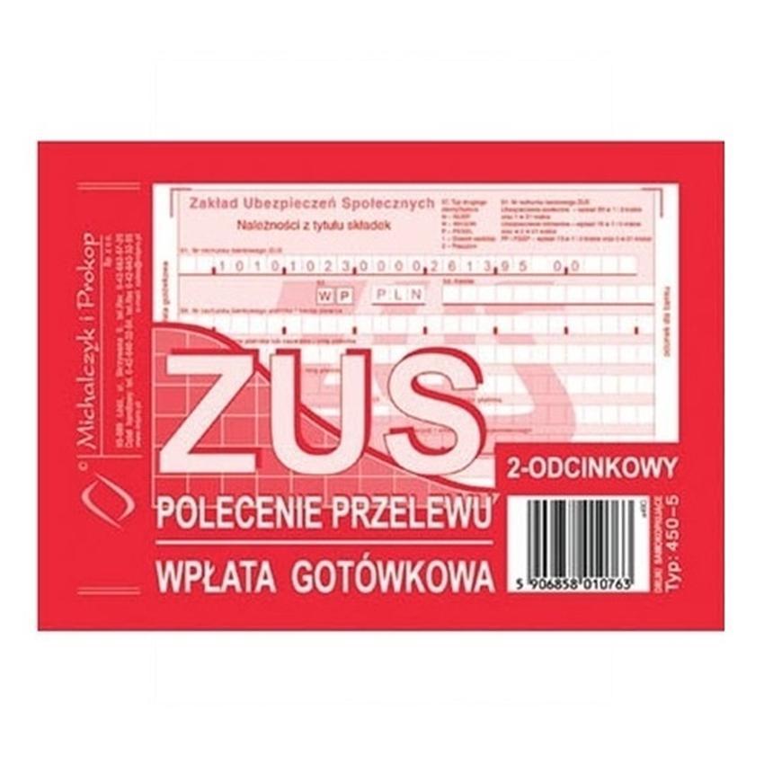 ZUS - POLECENIE PRZELEWU - WPŁATA GOTÓWKOWA - 2-ODCINKOWE 450-5
