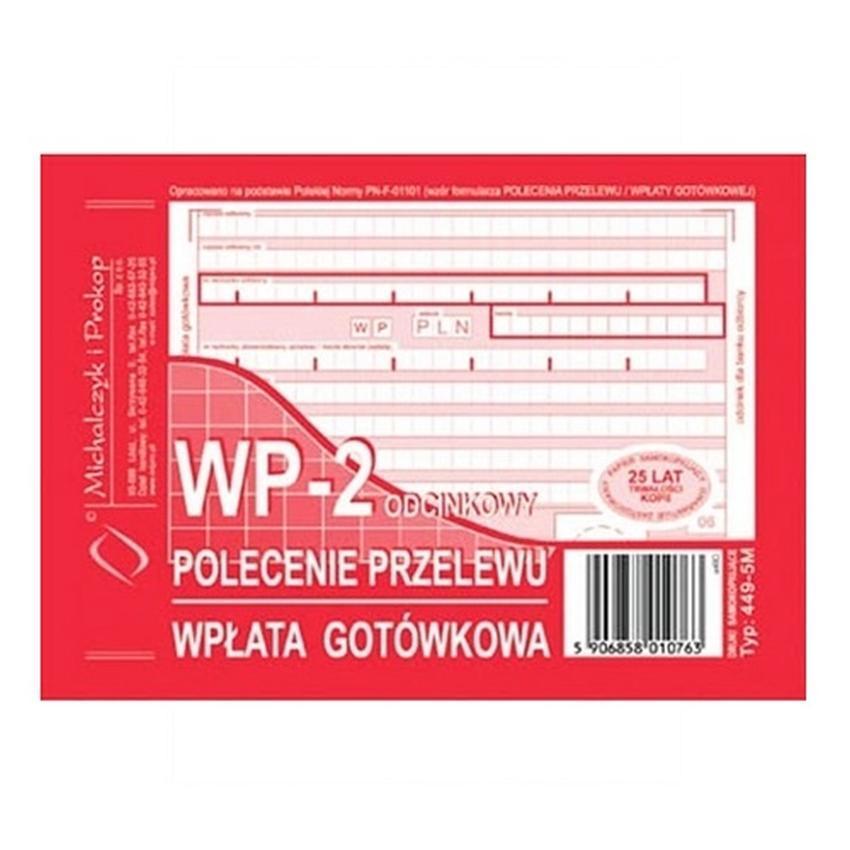 WP - POLECENIE PRZELEWU - WPŁATA GOTÓWKOWA - 2-ODCINKOWE 449-5M