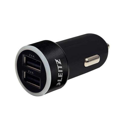 ŁADOWARKA SAMOCHODOWA LEITZ COMPLE Z 2 PORTAMI USB