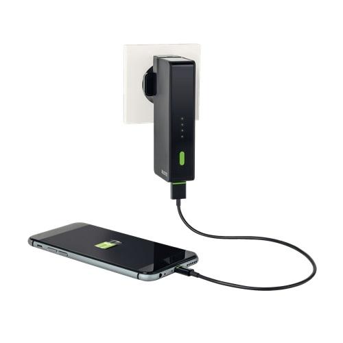 ŁADOWARKA PODRÓŻNA LEITZ COMPLETE TRAVEL USB Z WBUDOWANYM POWER BANKIEM 3000 MAH