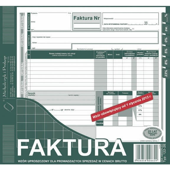 FAKTURA BRUTTO 2/3 A4 (UPROSZCZONA) (O+1K) 122-2E
