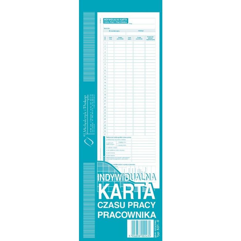 INDYWIDUALNA KARTA CZASU PRACY PRACOWNIKA 531-0