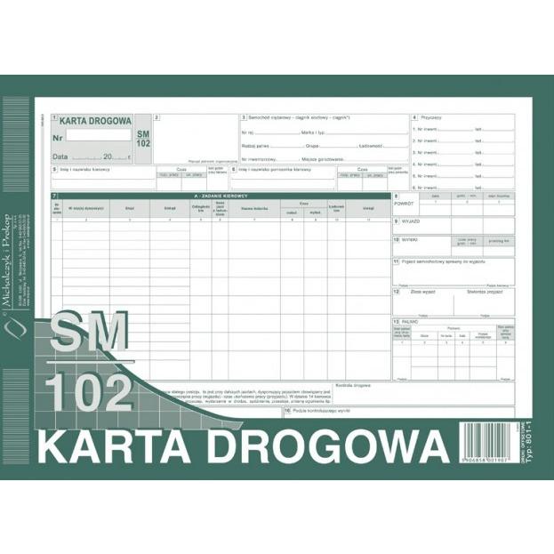 KARTA DROGOWA - CIĘŻAROWY NUMEROWANA 801-1-N